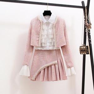 New Autumn Winter Fashion Ladies Suits Elegant Ruffles White Blouses + Beaded Short Jackets + Tweeds Mini Skirts Women 3 Pcs Set