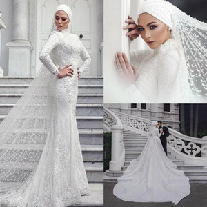 Wholesale 2020 Modern Muslim Wedding Dresses Mermaid Lace Long Sleeve High Collar Saudi Arabic Bridal Dress With Hijab Veils Custom Made