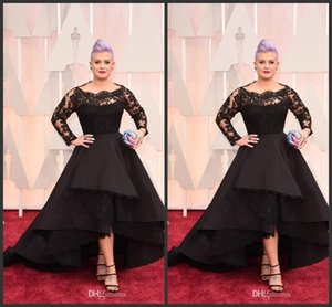 Wholesale 2019 Oscar Kelly Osbourne Celebrity Black Lace High Low Red Carpet Sheer Evening Dresses Ruffles Party Gowns Plus Size Long Formal Dresses