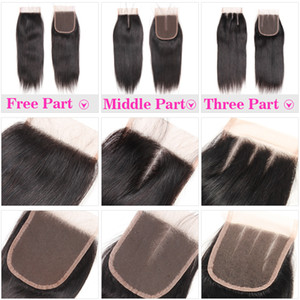 100% Human Hair 4X4 Lace Closure with Baby Hair Brazilian Straight Hair Body Wave Top Lace Closure Free Middle Three Part Peruvian Malaysian on Sale