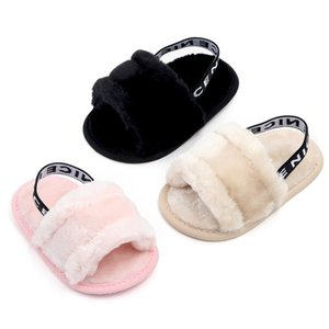 Wholesale Sweet Summer Faux Fur shoes girls boys first walk Newborn Infant Baby Solid Flock Soft Sandals Casual Slipper For Baby Girl