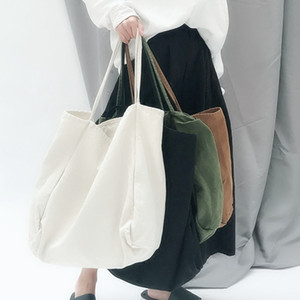 Simple Pure Color Canvas Large Capacity Portable Environmental Single-shoulder Art Hand Bag Strip Big Girls Casual Shoulder Bag on Sale