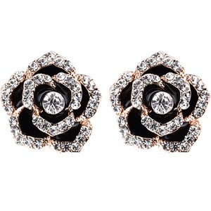 Woman Earrings Clips Jewelry For Bridal Wedding New Fashion Black Flower Design with Austria Crystal Ladies Bijoux Accessories on Sale