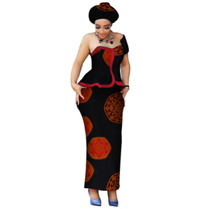 Wholesale African Clothes One shoulder Tops and Skirt Sets with Head Wrap for Women Bazin Riche African Piece Skirt Sets Clothing WY3765