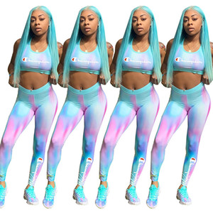 Wholesale Gradient Women Champions Tracksuit Sports Bra Crop Top Pants Leggings 2 Piece Set Sleeveless Bras Outfits Exercise Sportswear 4 Color A3121