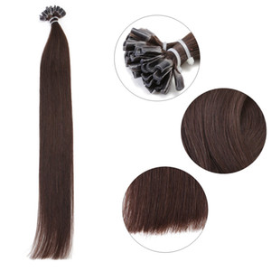 U Tip Hair Extensions Medium Brown Human Hair Pre Bonded Keratin Nail Straight Long Straight 100 Strands 18 20 22inch