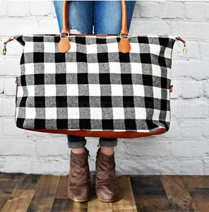 Buffalo Check Handbag Red Black Plaid Bags Large Capacity Travel Tote with PU Handle Storage Maternity Bags on Sale