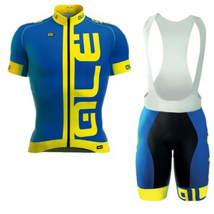 Wholesale 102340 Ale Team Custom Made Cycling Sleeves Men Breathable Short Sleeve Bib Shorts Outdoor Sports Jersey Sets S