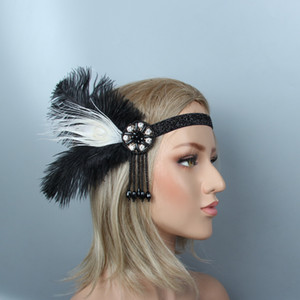 1920s Great Gatsby Black Bridal Headband feather Beauty Girl Feather Wedding Queen Tassel Headband Prom Princess Birthday Party on Sale