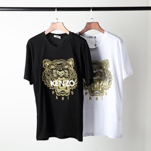 Wholesale Early spring new Kenzos round collar short sleeve T shirt counter synchronization classic tiger head letters embroidery stitching lovers