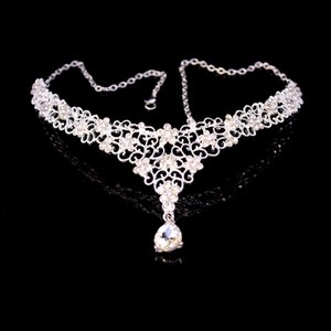 Wholesale ewelry dress Floral Bridal Crystal Headband Teardrop Rhinestone Forehead Head Pieces Women Indian Hair Jewelry Wedding Hair Chain Accesso