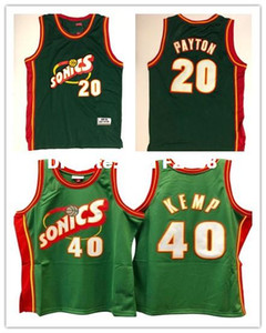 Cheap Wholesale Men's JERSEY #20 Gary Payton #40 KEMP Basketball Jerseys Green S-2XL