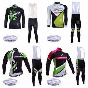 MERIDA team Cycling Winter Thermal Fleece jersey bib pants sets Winter Men's Comfort Long Sleeve Bib Pants Warm Sports Jersey Set S71144