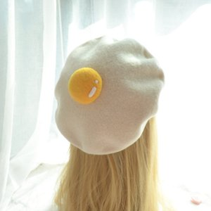 Wholesale A poached egg girl manual wool felt lovely Japanese egg yolk beret The painter hat present getting new autumn and winter BLM60