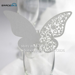Wholesale 50pcs colors Butterfly Shape laser Cut Place name Seat Wedding Invitation Cup Cards for Glass party supplies