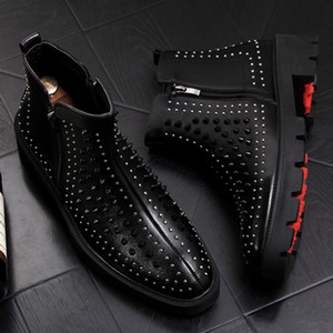 Wholesale italian brand designer men fashion party night club dresses shoe ankle boots cow leather rivet shoes platform botas zapatos bota