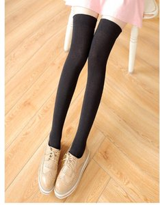Wholesale Fashion Women Plain Over Knee high stockings Thigh high stocking socks colors drop shipping cotton Black Cheap