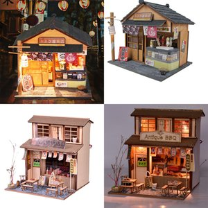 2 Set 1 24 DIY Handcraft Miniature Project Wooden Dolls House Kids Gift - Antique Barbecue Restaurant & Grocery Store