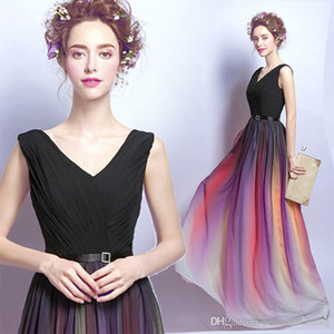 Wholesale New Arrival Hot Sale A Line Gradient Color Evening Dresses V-Neck Sleeveless Pleats Long Prom Party Gowns Evening Wear Formal Evening Gowns