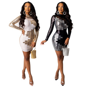 Wholesale Women sequins Dresses sexy night club dress long Sleeve mini skirts fashion fall winter clothing Solid Color dress DHL