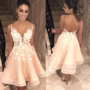 Wholesale sexy champagne cocktail organza dresses for sale - Group buy Sexy Backless Champagne Party Homecoming Dresses V Sheer Neck Straps D Floral Applique Cocktail Dress Formal Eevning Wear Custom Made