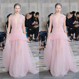 2020 Elie Saab Light Pink Evening Dresses Ruffles Deep V Neck Chiffon Prom Gowns Floor Length Runway Fashion Dresses on Sale