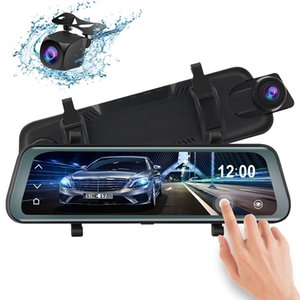 Wholesale Full Touch Screen inch Car DVR Rear View Mirror Stream Media Mirror With P Dual Lens Dash Camcorder