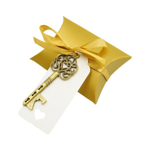 Wholesale Pillow Candy Box Skeleton Key Opener with Thanks Label and Ribbon Wedding Candy Souvenir Gift Set