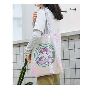 Wholesale Ins NEW Unicorn Cartoon Sequin Shoulder Bag bling Tote Large Capacity Handbag Women Reversible Glitter Mermaid Sequins flamingo School Bag
