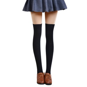 Cycling Socks Womens Long Socks Striped Thigh High Japanese and Korean style Over the Knee Sock Black Boot Stock