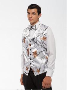 2019 White Camo Men Vest Camouflage Mens Suit Vest Slim Groom Vests Realtree Camo Outerwear Spring Autumn Single Breasted Wedding Vest Men