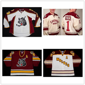 Wholesale Custom AHL Chicago Wolves 1 Young 20 Darren Haydar 23 Bill Sweatt 24 Derek MacKenzie Hockey Jerseys Stitched Logos Customized Any Name Numbe