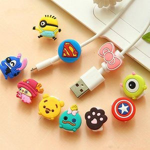 Wholesale Multi Patterns Cartoon USB Cable Earphone Protector Headphones Line Saver For Mobile Phones Tablets Charging Cable Data Cord
