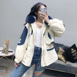 Wholesale Real Fur Coat Natural Navy Blue Fur Collar Winter Jacket Women Loose Short Down Coat White Duck Down Jacket Thick Warm Down T190922
