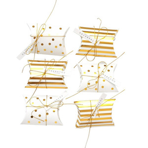 50Pcs set Pillow Shape Jewelry Candy Boxes Dot Stripe Wedding Favor Gift Party Paper Bags
