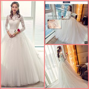 2019 new Robe de mariage ball gown white lace wedding dress hollow back sexy 3 4 sleeve corset princess puffy wedding gowns hot sale