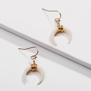 Wholesale MICHAEL KENDRA Resin Horn Ivory Earrings Gold Metal Charms Earrings for Women Party Gift
