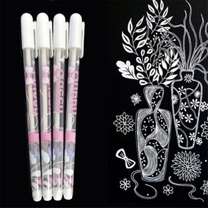 Wholesale 1PC mm White Gold Silver Ink Gel Pen Photo Art Marker Cute Unisex Pen Gift for Kids Stationery School Learning Supplies