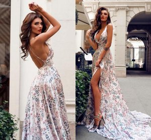 2019 Summer Flora Printed Sexy Backless Long Split Evening Dresses Bohemian Holiday Beach Party Gowns 2106 on Sale