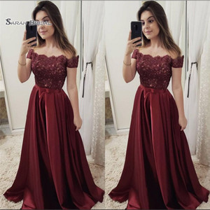 Wholesale 2019 Satin Beads Off The Shoulder Short Sleeves High End Quality Evening Party Dress Hot Sales