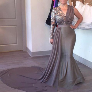 Wholesale gray plus size mother bride dresses for sale - Group buy 2018 Gray Plus Size mother of the bride dresses evening prom dresses robes de soirée V Neck One Shoulder Wedding Guest Gowns