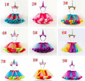 Wholesale Baby girls rainbow color tutu skirts unicorn headband set babies lovely clothing set infant toddler holidays dress up