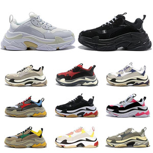 Fashion High Top Quality Triple S Mens Womens Casual Shoes Paris 17FW Low Old Dad Sneaker Combination Soles Boots Size 36-45