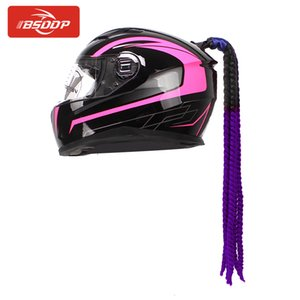 Wholesale New cm Motorcycle Helmet Braids Ramp Twist With Sucker Motorbike Helmet Decoration Woman Wig Braids Dual Pigtail Ponytail