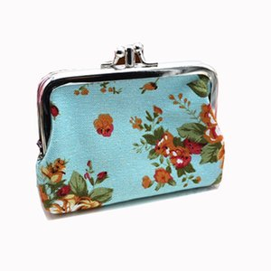 Vintage Chinese Coin Purses Women Purse Double Printing Canvas Lady Small Card Holder With Rose Flower Design Female Coin Purse
