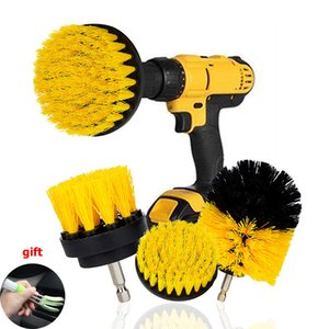 Wholesale 3Pcs Set Electric Scrubber Brush Drill Brush Kit Plastic Round Cleaning For Carpet Glass Car Tires Nylon Brushes