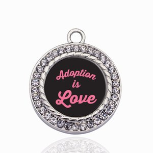 Wholesale love kids charms resale online - ADOPTION IS LOVE CIRCLE CHARM Cute Heart Suspension Charms Pendants Accessories For Women Kids DIY Jewelry Making