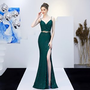 New Gold Evening Dresses 2019 Long Mermaid Dress Queen High-end Prom Dress Spaghetti Sequin Evening Dress Fashion Sexy Split celebrity Party on Sale