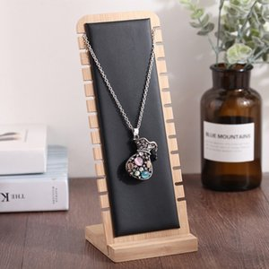 Wholesale Solid Bamboo Wood Jewelry Display Stand Necklace Showcase Holder Pendant Long Chain Handing Organizer Necklace Board