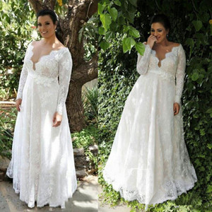 Wholesale plus size hot model resale online - Hot Sale Plus Size Wedding Dresses Lace Long Sleeves Sexy V Neck Bridal Wedding Gowns